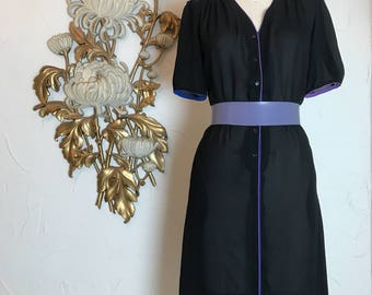 1980s dress chiffon dress black dress size large sheer dress puff sleeves dress 1970s dress townhouse dress 38 bust secretary dress