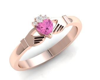 Pink tourmaline gemstone Claddagh ring, crafted in Ireland. Diamond and tourmaline claddagh ring. Irish ring.
