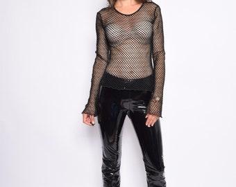 Vintage 90's Black Fishnet Top / Long Sleeve Net Sweater  / Black Fishnet Shirt - Size Small