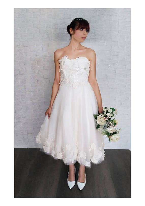 Tee Länge Brautkleid Brautkleid Vintage 50 Hochzeit Kleid