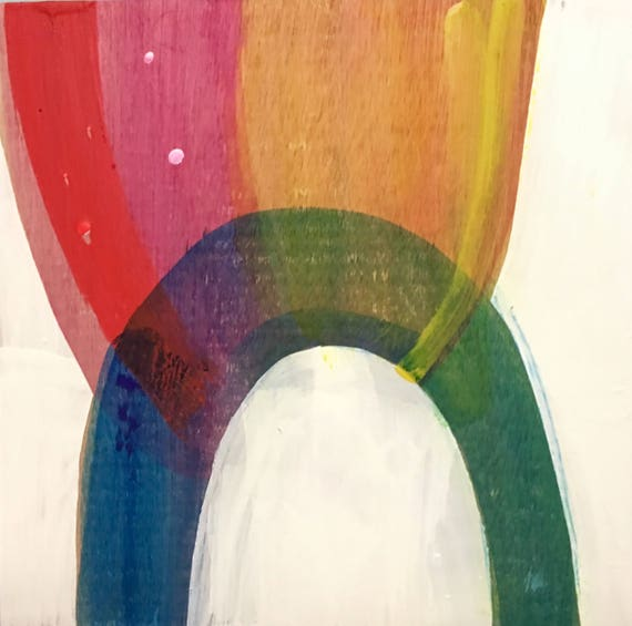"Catch the Rainbow, 12"" x 12"" encaustic painting"