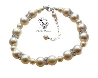 Wedding Bracelets - Pearl Bridal Bracelet - Swarovski Pearls - Pageant Jewelry - Prom Jewelry - Prom Bracelet - Pearl Bridal Jewelry
