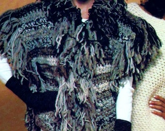 Crochet Vest with Mittens and Spiral Hat Vintage Crochet Pattern Instant Download