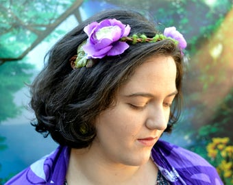 Simple Purple Flower Crown, Flower Crown, Fairy Crown,  Cosplay Headpiece, Cosplay Crown, Renaissance Crown, Renaissance Headpiece