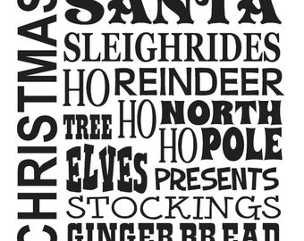 "Primitive Christmas/Holiday STENCIL**Santa Reindeer Elves North Pole** 12""x12"" for Painting Signs, Airbrush, Crafts, Wall Art and Decor"