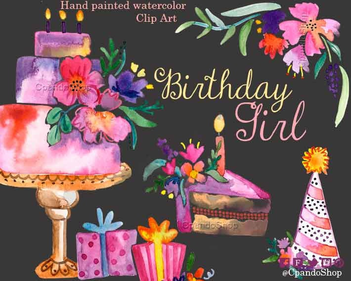 Girly birthday watercolor clip art baby girl invitations zoom filmwisefo