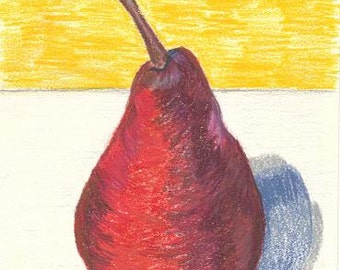 Red Pear  - Drawing in Pencil