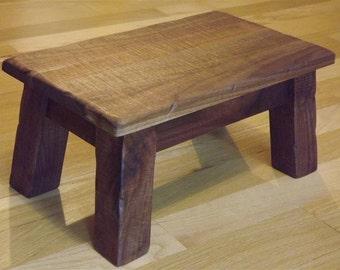 "Solid walnut/ Rustic/ Reclaimed wood/ Farmhouse stool/ Primitive/ foot stool/ step stool 8"" - 10"" h"