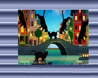 Very large magnet with cat: flight of cats in Venice