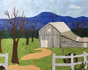The Quiet Beauty of a Barn in Winter - original paper collage