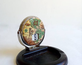 Vintage Ashtray With Perpetual Calendar. Vintage Metal Ashtray With Flip Calendar. Ashtray And Flip Calender With World Map.