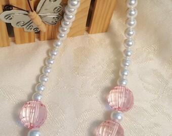 Pink BUBBLEGUM CHILDRENS NECKLACE ~ Chunky Acrylic Bubblegum Beads
