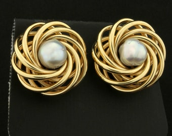 7 1/2mm Akoya Pearl Clip-On Earrings in 14K Yellow Gold