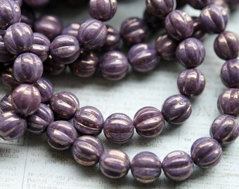 8mm Melon Round Beads - Lilac -  Purple Marbled Gold - Czech Glass Beads - Fluted Round Beads - Bead Soup Beads