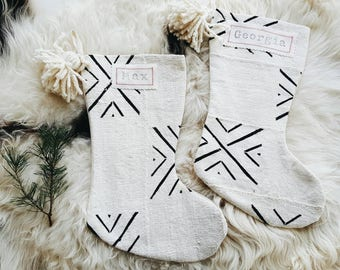 White and Black Mudcloth Christmas Stockings - Modern Farmhouse Mud Cloth Christmas Stocking - Farmhouse Decor