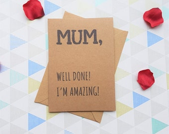 Mum card, Mothers day card, Mum birthday card, Mom birthday card,Card for mom, Card for mum, Funny mothers day, Funny card, Mothers day gift