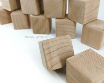 Wood Blocks / Simple Wood Toys / Wooden Blocks For Kids / Stacking Blocks / Fine Motor Grasping / Plain Square Blocks / Cherry Wood Blocks