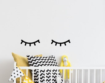 Eyelash decor, Sleepy eyes wall decal, Closed eyes decals, Sleeping eyes, Wall art, Girl nursery decor ideas, Above crib, Crib decals #075