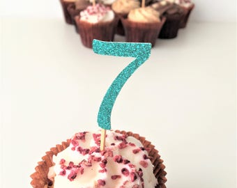 Seven Cupcake Topper. Number 7 Toppers. Seventh Birthday Party.  Set of 10 Glitter Picks. 7th Birthday. Cake Accessories. Centrepieces.