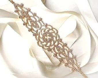 Sash - Rhinestone Rose Bridal Belt Sash in Gold - Satin Ribbon - Crystal Wedding Dress Belt - Gold Crystal Flower - Standard Length