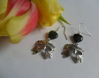 Beltane Green Man Earrings with Moss Agate Hearts - Pagan Earrings with Green Gemstone Beads and Leaf Mask Charms - Beltane - Love