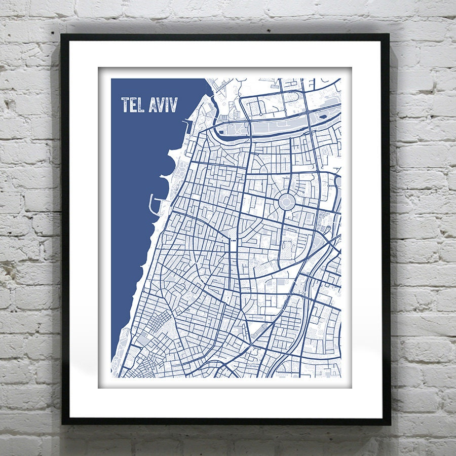 Tel aviv israel blueprint map poster art print several sizes available malvernweather Gallery