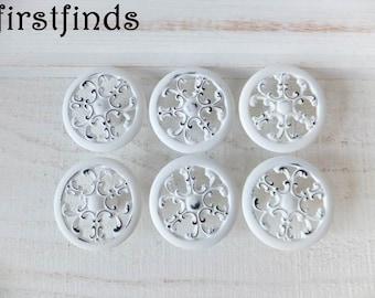 6 White Knobs Kitchen Cabinet Pulls Shabby Chic Furniture Dresser Drawer  Cottage Snowflake Cupboard Filigree Painted