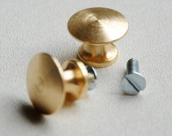 Small button lens brass handle for raw cardboard box