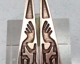 Kokopelli Teardrops, Antique Silver, Pewter, Greek Casting, 1 Pair, M476