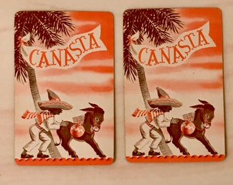 Lot of 2 Vintage Canasta Swap Cards Donkey & Man With Sombrero Free US Shipping Whitman Racine WI