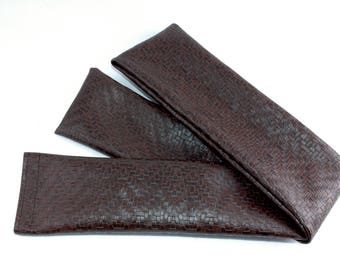Door Draft Stopper, Room to Room Noise Reducer, AnnabelsAccessories, Brown Faux Leather, Woven Fabric Door Draft Stopper, Home Decor