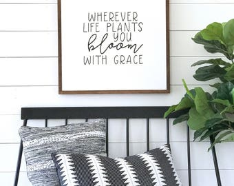 """BLOOM With Grace Painted wood sign 24X24"""" 