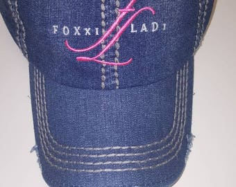 Distressed Denim Foxxiladi Logo Hat
