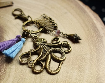 Octopus Knit and Crochet Notion Keychain - includes a stylish variety of notions for your crafting needs