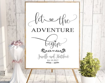 Let the Adventure Begin Wedding Sign Printable, Welcome to Our Wedding Sign, Wedding Reception Printable Poster, Digital Welcome Printable,