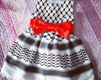Palestinian Kufiya dress, 6 Years old girl dress, made to order