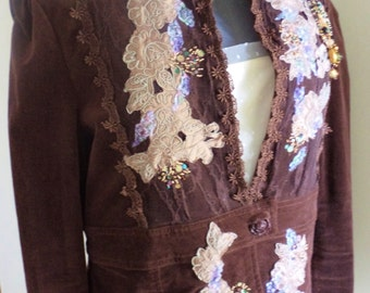 brown velvet jacket, couture jacket, couture clothing, hand embroidered, applique jacket, beaded jacket, evening jacket