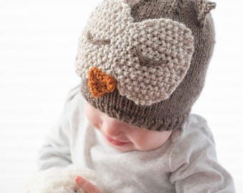 Owl Hat KNITTING PATTERN / Owl Hat Pattern / Knit Owl Hat Pattern / Knit Owl Hat / Sleepy Owl Hat / Owl Hat Baby / Baby Owl Beanie / Owl Hat