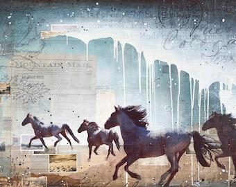 "Wild Heart - 60"" x 36"" original Nevada Mustang mixed media painting"