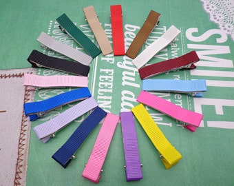 Sale--50 pcs girl hair clips --mixed colors satin hair clips - girl barrettes
