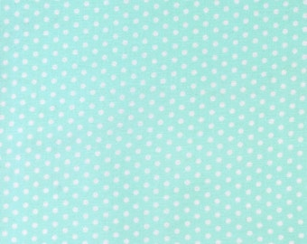 Spot On, Pond, Mint Polka Dot Fabric, Robert Kaufman, Cotton Sewing Material, Quilting, Clothing, Craft, Fat Quarter, Half Yard, By the Yard