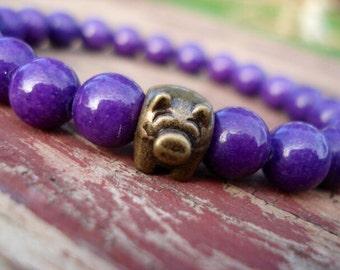 Purple Jade Bracelet, Pig Bracelet, Pig Jewelry, Pig, Farm Animal Jewelry, Gemstone Bracelet, Bead Bracelet, Pig Collectible, Women Bracelet