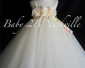 Vintage Dress Ivory Dress Flower Girl Dress  Wedding Dress Tulle Dress with Wide Straps Baby Dress Toddler Tutu Dress Girl Dress Party Dress