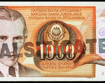 Jugoslavia RARE 1990 p2 1000 Dinara Cancelled Counterfeit less than 2000pcs.UNC CV 125.