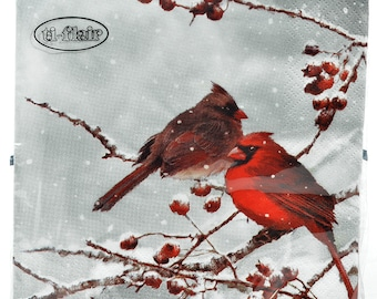napkins paper birds motifs and winter, Valentine's Day themed paper napkins