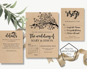 Rustic Wedding Invitation Set Template, Wedding Invitation Printable Set, Wedding Invites, Rustic Wedding Invitation Cards