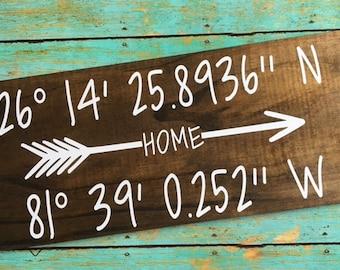 Latitude/Longitude Wood Sign