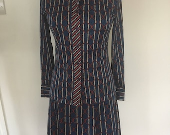 Vintage 1970's Nautical Print Skirt & Blouse Suit By Jeffrey Ohrenstein of London - Approx UK 10.