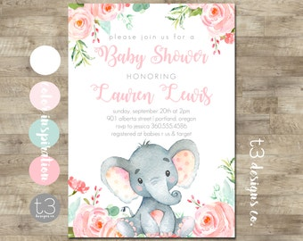 Elephant baby shower invitation Girl baby shower invitation