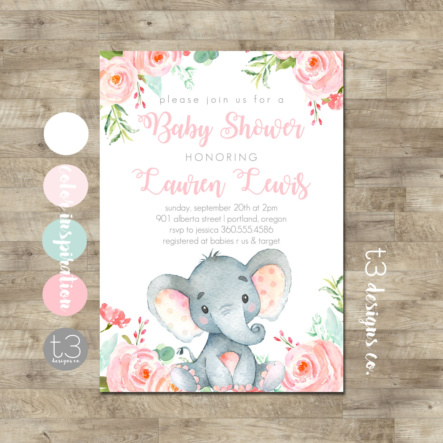 Girl elephant baby shower invitation safari baby shower invitation girl elephant baby shower invitation safari baby shower invitation girl elephant invitation jungle baby shower invite floral elephant filmwisefo Images